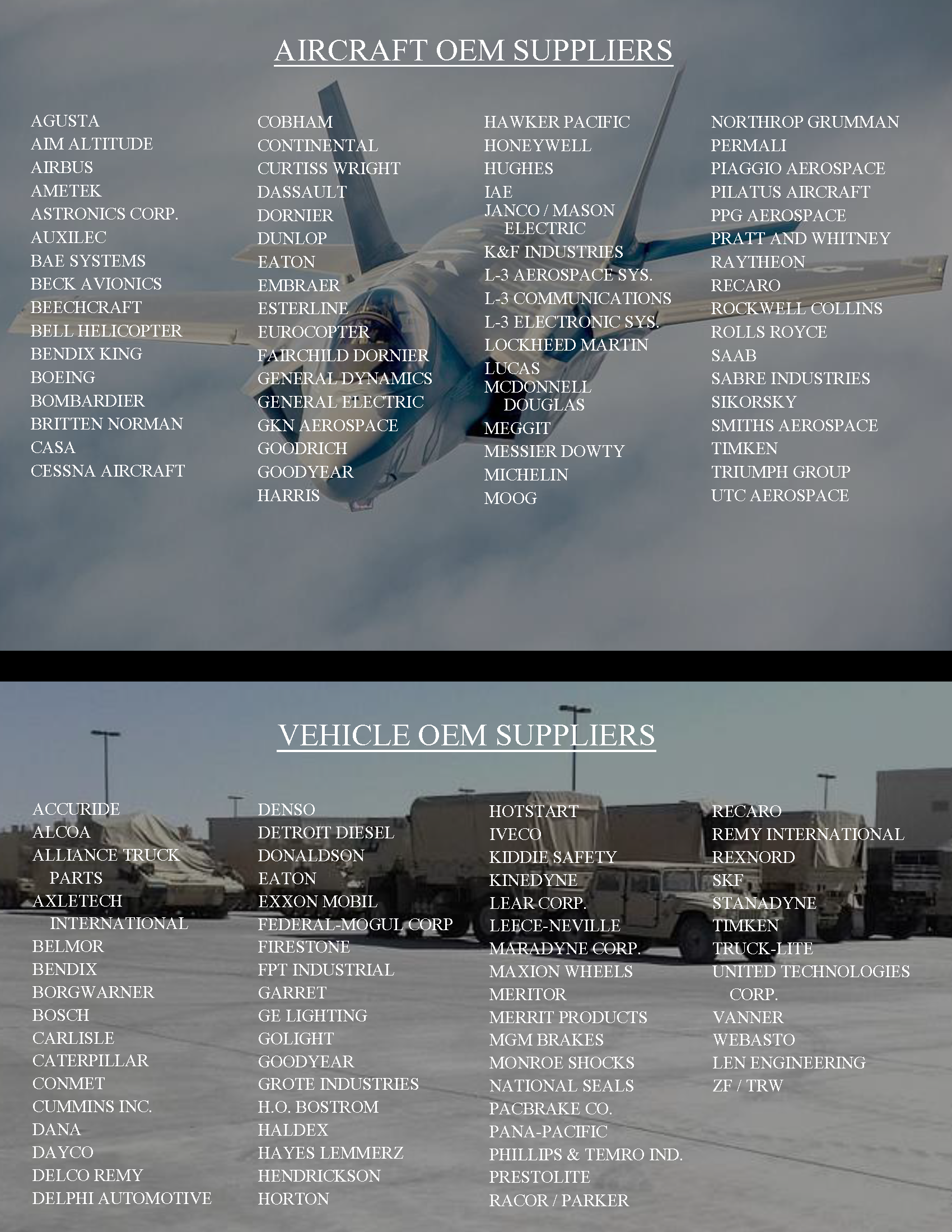 aircraft and vehicle oems
